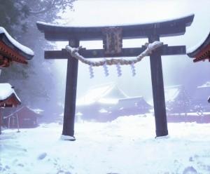 「霧中祈願」 海老根登様 日光二荒山神社